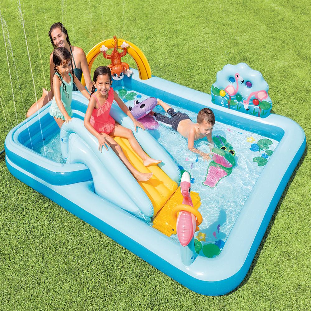 Дитячий ігровий центр Intex 57161 257х216х84см Надувний водний басейн комплекс з гіркою Інтекс з ПВХ