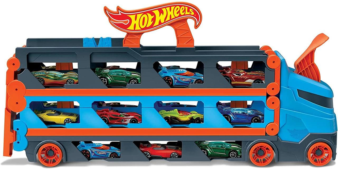 Хот Вілс Мега Автовоз вантажівка транспортер швидкісна траса Hot Wheels Mega Hauler
