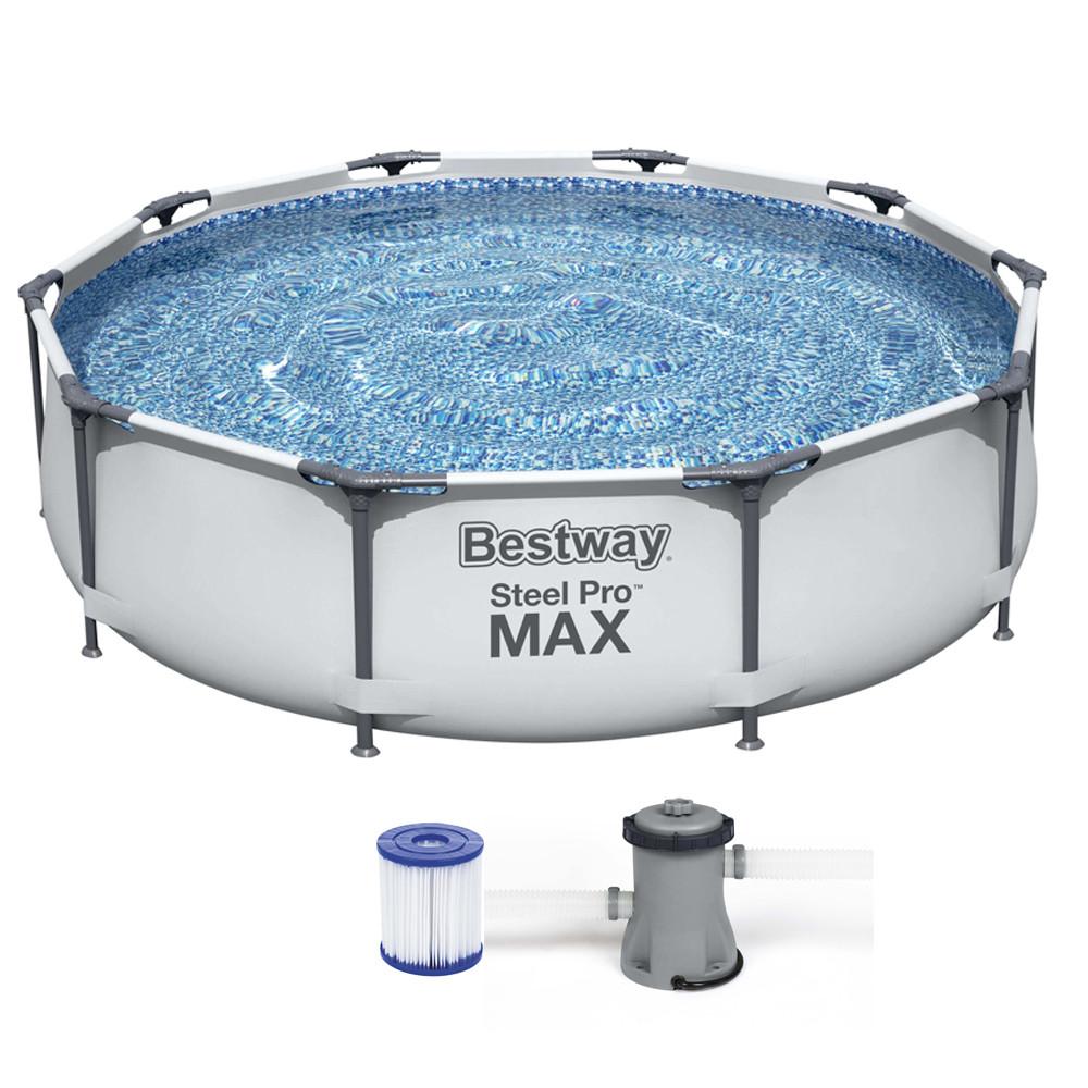 Каркасный прямоугольный бассейн Bestway 305х76см steel pro max 26356 с фильтром, Большой для всей семьи