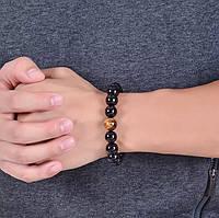 Мужской браслет из натурального черного оникса, шт. (арт.0181)
