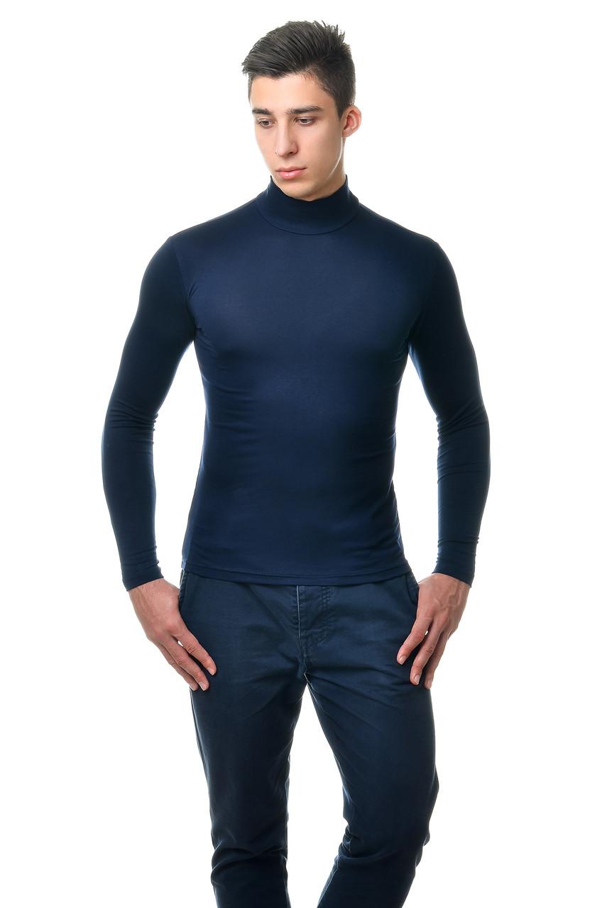 Класична чоловіча однотонна водолазка, темно-синя