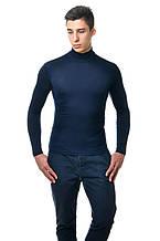Классическая мужская однотонная водолазка, темно-синяя