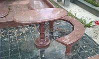 Скамейка Стол из красного гранита на кладбища № 470
