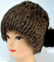 Тёплая зимняя женская шапка из натурального меха кролика