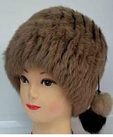 Женская шапка из натурального меха кролика