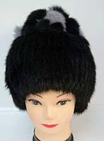 Шапка женская из натурального меха кролика черная