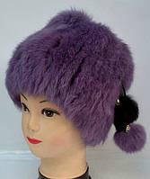Женская зимняя шапка из меха кролика