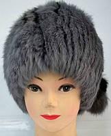 Жіноча шапка з натурального хутра сірого забарвлення