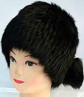 Черная женская шапка-кубанка мех кролика