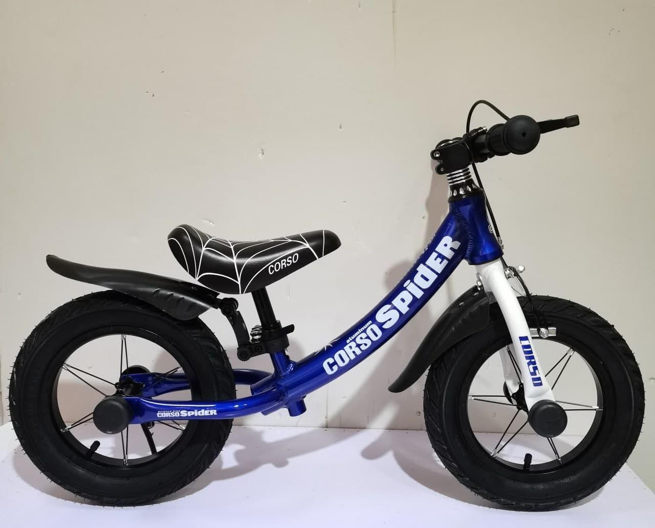 """Велобіг  з ручним гальмом, колеса резинові, надувні 12 дюймів CORSO """"SPIDER"""" 88776, колір синій"""