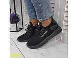 Кросівки текстильні дуже легкі чорні дихаючі К2574, фото 9
