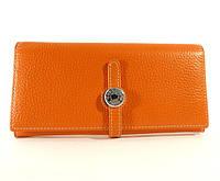 Кожаный кошелек Hermes A 514 оранжевый, расцветки в наличии