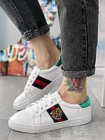 Кроссовки G с тигром белые женские брендовые кеды гучи обувь реплика копия, фото 1