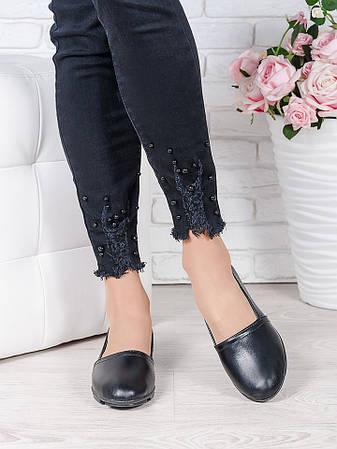 Туфлі мокасини чорна шкіра 7023-28, фото 2