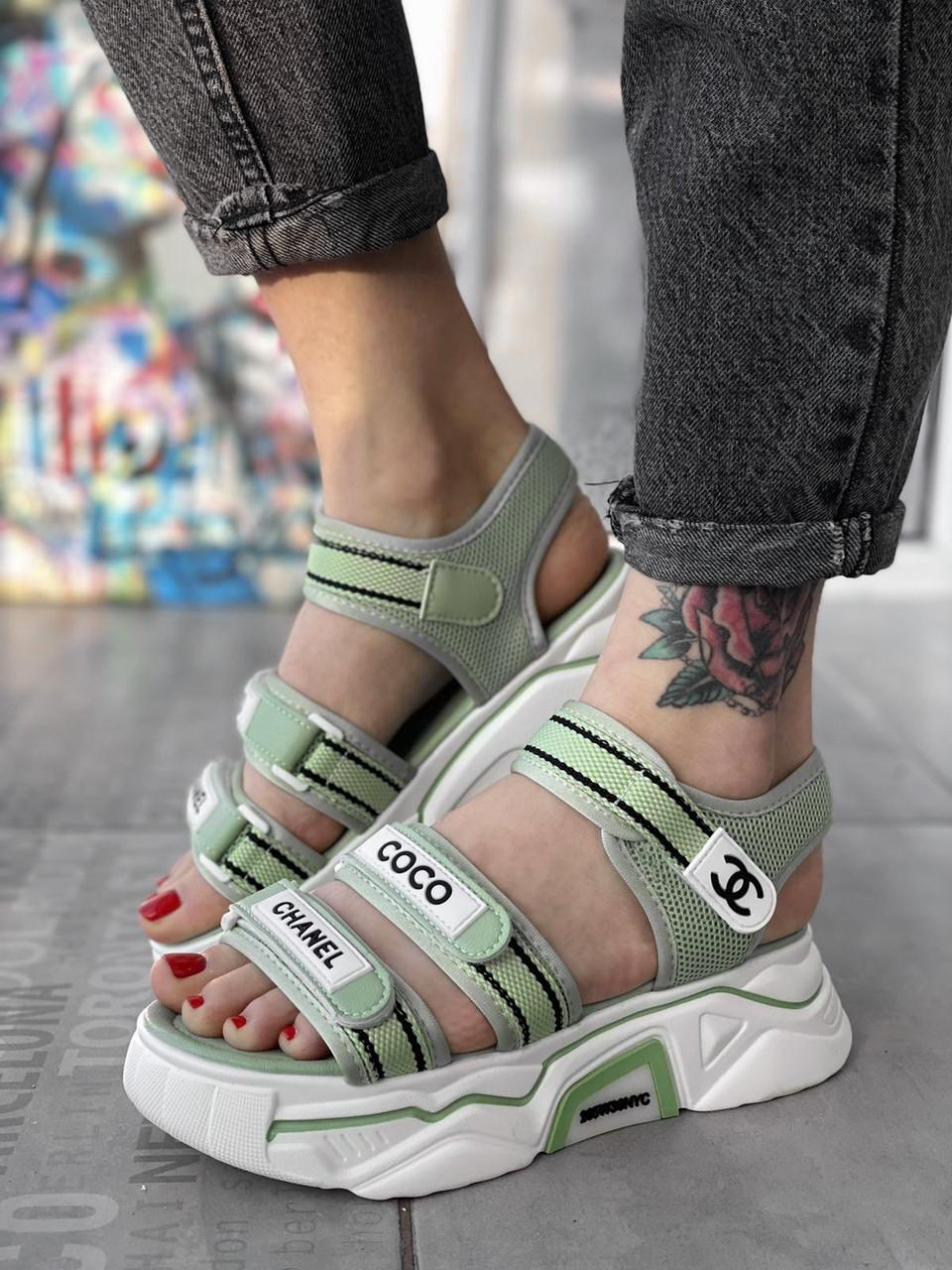 Босоніжки жіночі CH*NEL босоніжки спорт тканинні літнє взуття, жіноча репліка копія