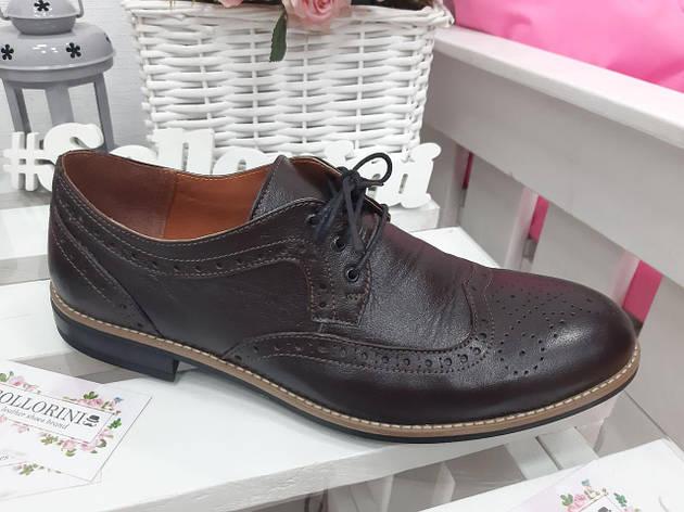 Чоловічі туфлі Оксфорди коричневі 7197-28, фото 2