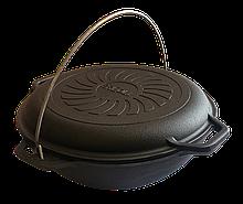 Казан чугунный азиатский Brizoll 4л с крышкой-сковородой Бризоль
