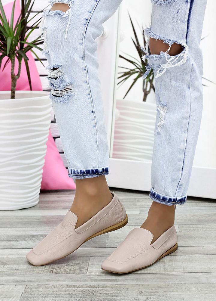 Туфлі мокасини беж шкіряні 7623-28