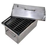 Коптильня гарячого копчення 1мм 520х310х260мм з Гідрозатворів (каганець,каптилка), фото 3