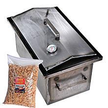 Коптильня гарячого копчення 1мм 520х310х260мм з термометром + Тріска (каганець,каптилка)