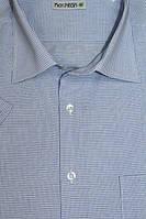 Мужская рубашка в голубую клетку с коротким рукавом