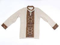 Детская коричневая вязаная вышиванка для мальчика | Дитяча коричнева в'язана вишиванка для хлопчика