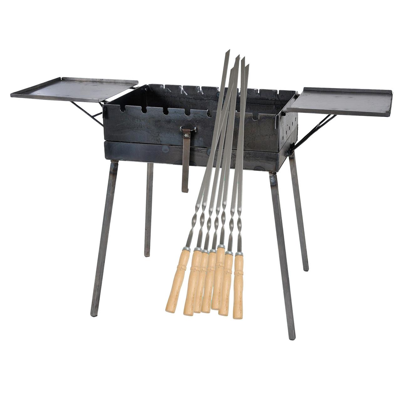 Мангал - валіза 3 мм на 7 шампурів зі столиками 550х300х150мм + Набір шампурів