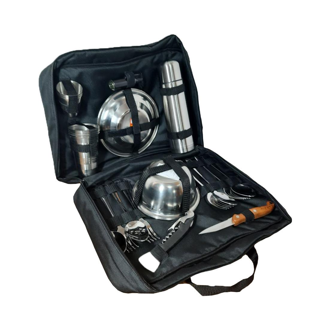 Набор для пикника на 4 персоны в сумке №2 (29 предметов). Сумка походная, набор для туризма №1