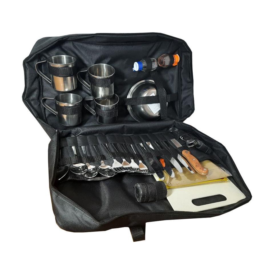 Набор для пикника на 4 персоны в сумке №1 (36 предметов). Сумка походная, набор для туризма №1