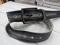 Ремень кожаный джинсовый серый