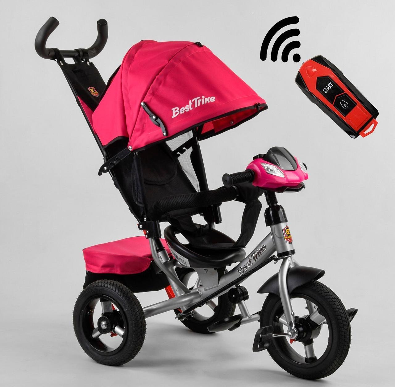 Дитячий триколісний велосипед з батьківською ручкою, козирком, кишенькою 3390/11-818 Best Trike, рожевий