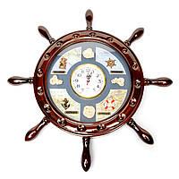 Штурвал сувенирный с часами D-50 см