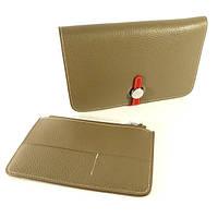 Кожаный кошелек, клатч, чехол для телефона Hermes 536 серый