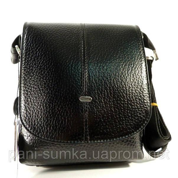 Сумка мужская кожаная через плечо, планшет Desisan 425 011 черная, 18*22*8 см