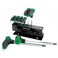 Ключі шестигранні L-образні з ручкою TOPTUL 2-10мм 8ед. GAAX0801