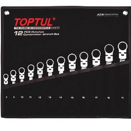 Набір ключів з тріскачкою і шарніром комбінованих TOPTUL 12ед. 8-19мм в чохлі GPAQ1204