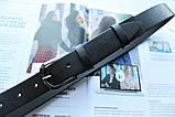 Женский кожаный классический ремень черный, фото 3