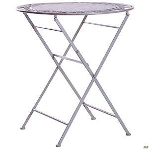 Уличный круглый стол AMF Мерибель металлический винтаж серый раскладной