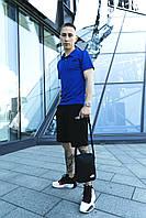 Костюм спортивный мужской The north face Футболка Поло синяя трикотажная+Шорты синие+Барсетка тнф летний