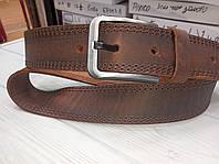 Ремень кожаный коричневый джинсовый, простроченный