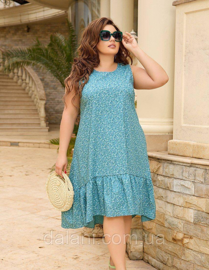 Женское летнее бирюзовое платье ассиметричное батал