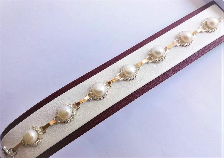 "Браслет з Натуральними перлами ""Бутон Ж"" срібло+золото"