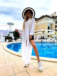 Жіночий літній костюм двійка біла туніка+шорти