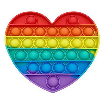 Антистрес Pop It сенсорна іграшка серце веселка