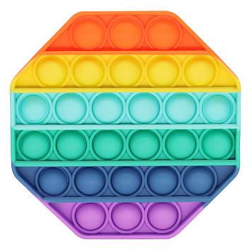 Іграшка антистрес сенсорна вічна пупырка Pop It Поп Іт Веселка Восьмикутник (tdd033-hbr)