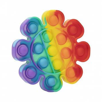 Игрушка антистресс сенсорная вечная пупырка Pop It Поп Ит Радуга Цветок (tdd034-hbr)