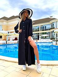 Літній жіночий костюм двійка чорна туніка+шорти