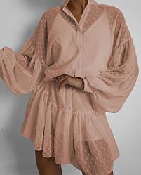 Жіноче бежеву сукню на гудзиках з об'ємними рукавами