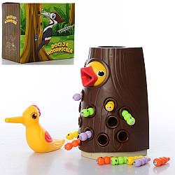 Игра BY-5004 (24шт) Доктор Дятел,магнитная, дерево,птичка,гусеницы,в кор-ке,20,5-18-12см