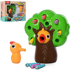 Игра M9I (18шт) Накорми дятла, магнитная, дерево, птичка, гусеницы, в кор-ке, 30,5-24-10см